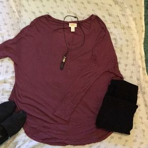 Cozy oversized orchid top